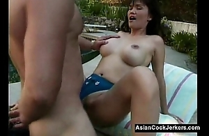 Big Teat Asian Slut Fucked Poolside - AsianCockJerkers.com