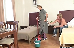 Cleaning woman receives her twat be full