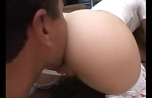 Teen blond clothed in red anal fucked