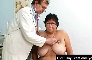 Busty elder spread out gyn clinic exam