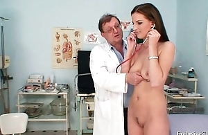 Smoking hot brunette babe peculiar gyno exam