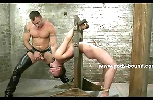 Adult gay suspdended in the air whipped and spanked onwards possessions fucked