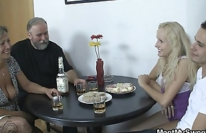 Her pussy receives licked increased by fucked by say no to BF'_s parents