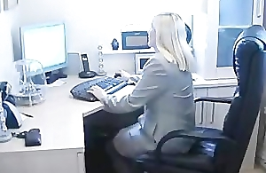 BBW British Blonde Secretary Fingers Say no to Pussy Through Say no to Pantyho