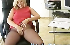 Horny British Business Woman In Black Hose Masturbating