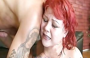 Redheaded Slut Sucks And Fucks A Rough Stud