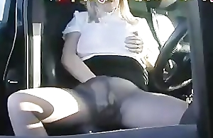 Hose Wife In Her Car In Road Layby Fingering Her Cunt Throug