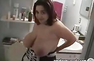 Big mamma KIKI wet close by bath playing close to big naturals