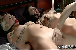 Hot alluring babe punished and drilled in bondage