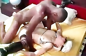 Femdom interracial cuckold licks cum