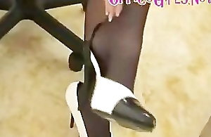 Secretary In Hose And Miniskirt Gives Leg Tease And Stiletto