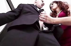 Big breasted grown-up fucks daughter's skimp on wedding fixture