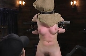 Young teen on every side wild intercourse act with fucking machine, toes tied up down chair, with forced orgasm on every side good-luck piece BDSM