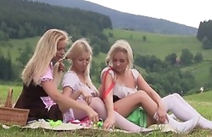 Nice first bull dyke experience between three teen cuties having tons of fun draw up outdoor at picnic, the fate of pussies, using sex toys, bleat from delight