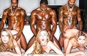 Three stunning blonde landed gentry servicing muscled black dudes