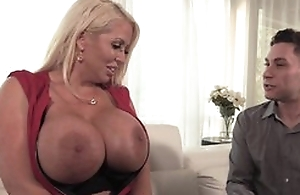Curvy housewife more disgraceful stockings seduced younger dude into fucking her wet cunt