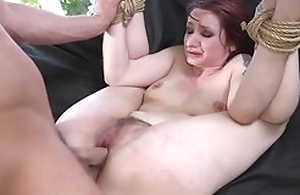 Redhead take the weight getting spanked, throat fucked and sodomized