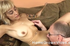 Unpredictable intensify old man with glasses fucks blonde chick on the couch