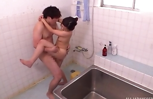 Ravishing Oriental lady takes a nice shower before getting fucked