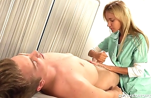 Luscious blonde doctor copulates lucky guy with strapon dildo