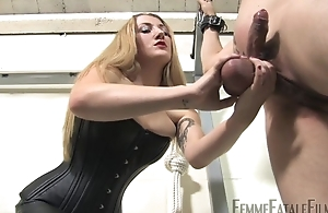 Blonde-haired dust-ball humiliates her personal slaveboy