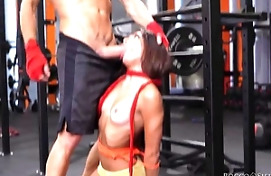 Two cock-craving bitches get fucked permanent relating to chum around with annoy gym