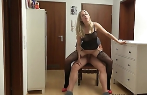 Amateur German MILF serves lover's tunnel in POV