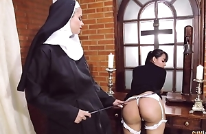 Slanderous nun copulates will not hear of swain with strapon dildo