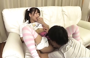 Adorable Japanese girl with pigtails gets a on target fuck