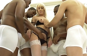 Slender blonde woman in white stockings get group-fucked