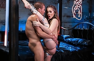 Busty bartender gets her bawdy cleft fucked complying and proper