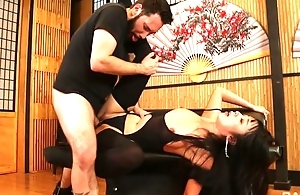 Bodacious Japanese lassie in stockings gets roughly fucked