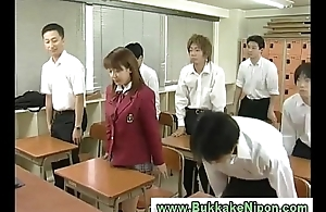 Real japanese school tolerant acquires bukkake in amateurish gangbang