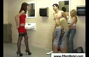Glamorous cfnm sluts play with guy