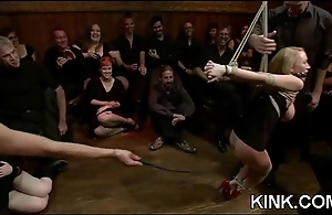 Chap-fallen babe bound, suspended, punished and fucked