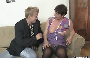 Grey mom widens will not hear of legs for hard cock