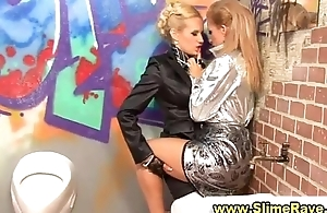 Glamouors lesbos drag inflate cock and get cumshower alongside gloryhole