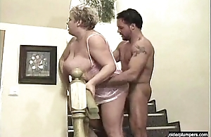Fat granny drilled by young shine