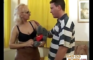 Granny in glasses gets a good have a passion