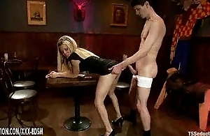 Blonde ladyboy Paris gets anal shafting everywhere the snack prohibition