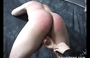 Mistress dominates and beats up her poor naked imperceivable slave