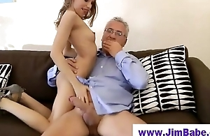 Young british blonde sucks old man